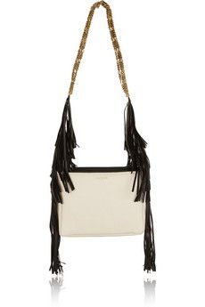 Lanvin Tribale fringed textured-leather shoulder bag | NET-A-PORTER
