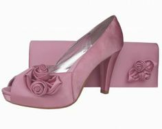 bf8a04e2befb Stunning ladies quartz pale pink satin platform shoes and matching clutch  bag by the designer Heavenly. Great range of affordable ladies evening shoes .