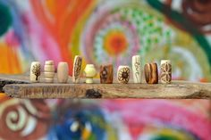 Dreadlock accessory // wooden dread beads // 10 wood bead set superdeluxe / hair accessories / beads for dreads with symbol / hippie natural
