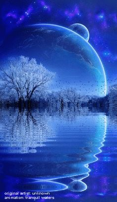 Water Animations - Oceans to Angels - Image 15 - Tranquil Waters - Fantasy Art Moon Pictures, Gif Pictures, Fantasy Kunst, Fantasy Art, Foto Gif, Angel Images, Beautiful Moon, Blue Moon, Stars And Moon