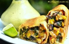 Southwestern Egg Rolls ~ they are packed full of hearty ingredients, and then baked off for a wonderfully crispy crust.  Serve these with her Cilantro Cream Sauce (recipe available too) because the 2 flavors are just destined for each other.  You can eat them by themselves, or with ranch too.