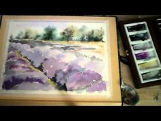Watercolor painting lavender field - YouTube
