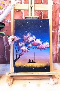 Cute Canvas Paintings, Canvas Painting Tutorials, Small Canvas Art, Easy Canvas Painting, Diy Canvas Art, Painting Techniques, Drawing On Canvas, Simple Acrylic Paintings, Painting Videos