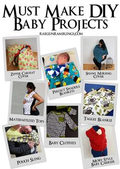 Must Make DIY Baby Projects. Great collection of free tutorials for everything you'll want to make for your baby.: