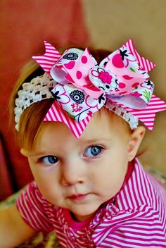 baby hair bow...pink boutique hair bow with by SallyAnnaSunshine, $8.99