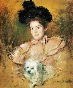 Mary Cassatt (1844-1926) Woman In Raspberry Costume Holding a Dog 1900