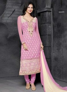 Epitome Pink And Resham Embroidery Work Churidar Suit http://www.angelnx.com/Salwar-Kameez/Churidar-Suits