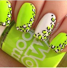 Neon nail art design makes your nails bright and shiny. The energy you can see in neon nails. When you wear neon nails, you can choose yellow. This is an attractive article. Today, we have collected 77 stunning yellow neon nail art designs to beau Nail Art Designs, Cheetah Nail Designs, Green Nail Designs, Cheetah Nails, Neon Nails, Diy Nails, Cute Nails, Nail Nail, Pretty Designs