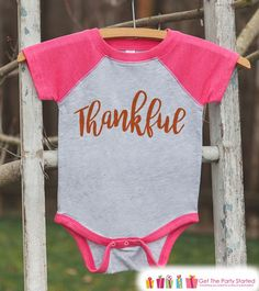 Kids Thankful Shirt - Thanksgiving Shirt or Onepiece for Girls - Pregnancy Reveal Shirt - Pink Raglan - Infant, Toddler, Youth Thanksgiving