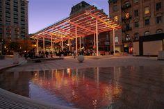 LED canopy installation by Dan Corson. Director Park, Portland.