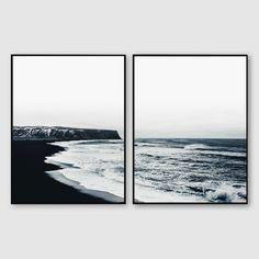 Coastal Set Print Coastal Wall Art Ocean Black and White Black And White Beach, Black And White Artwork, Hampton Artwork, White Room Decor, Bedroom Decor, Bedroom Ideas, Bangkok, Beach Artwork, Coastal Wall Art