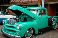 1954 Chevy 3100 Pickup with hood up 54 Chevy Truck, Chevrolet 3100, Chevrolet Trucks, Chevy Trucks, Pickup Trucks, Classic Trucks, Classic Cars, Diy Mugs, Car Show
