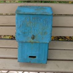 Vintage Blue Mailbox, Primitive Mailbox, Vintage Mailbox, Retro Azure Mailbox, Old letterbox, Metal Chest, Rustic Storage, Wedding Decor by RAGMAN770 on Etsy