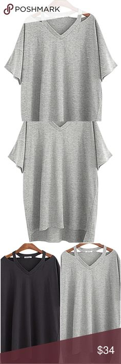 Plus sized gray shirt Available in gray only. Soft and comfy cute t shirt with strap flair at shoulders. V neck. Cotton. Loose (almost batwing) sleeves. Perfect to dress up or down.  Boutique Tops Tees - Short Sleeve