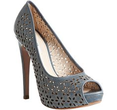 Prada dusty blue floral eyelet leather peep toe pumps