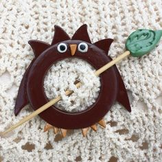 Owl Shawl Pin Resin and Polymer Clay by WireDreamsDesign on Etsy, $10.00