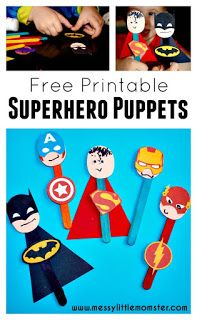 A simple craft stick superhero puppet activity for kids to accompany the LEGO superhero phonics books .  FREE PRINTABLE Batman, Superman, Spiderman, Ironman, Flash, Captain America masks and badges.