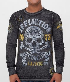 Affliction American Customs Skull Thermal Shirt at Buckle.com