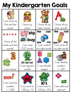 This kindergarten skill goal sheet that is a fun and very visual way for the kids to see what skills they have mastered. When a skill has been mastered, the child can put a sticker in the box. Excellent motivation to meet kindergarten goals