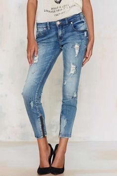 One Teaspoon Freebirds Cropped Jeans - Denim