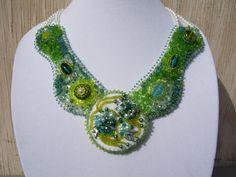 Beadwork Chartreuse and Teal Collar Bib by BellaLucaDesigns