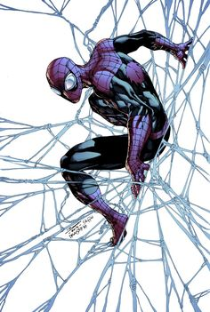 Superior Spider-Man by Brett Booth, colours by Jeremiah Skipper. Comic Book Characters, Marvel Characters, Comic Books Art, Comic Art, Book Art, Amazing Spiderman, All Spiderman, Spiderman Poses, Marvel Dc Comics