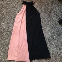 Peach/black 2 tone dress Peach/black 2 tone dress, buttons around neck, open back Charlotte Russe Dresses