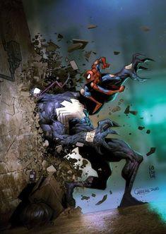 marvel:Venom vs Spidey by Carlos Cabrera Heros Comics, Marvel Comics Art, Bd Comics, Marvel Heroes, Marvel Characters, Aquaman Comics, Captain Marvel, All Spiderman, Amazing Spiderman