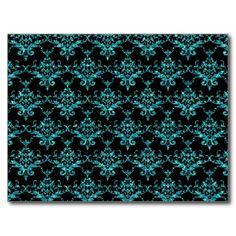 Glitter black turquoise damask pattern postcard