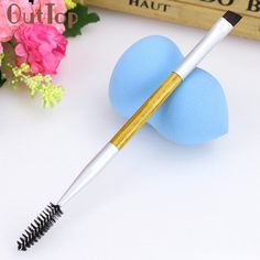 1PCS High Quality Makeup Bamboo Handle Double Eyebrow Brush Eyelashes Eyebrow Comb Makeup Brushes ar12 Levert Dropship #Affiliate