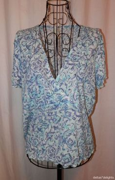 J. JILL TOP L Large Blue Turquoise Vneck Crossover Short Sleeve Lightweight #JJill #KnitTop #Casual