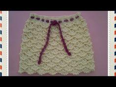Falda niña de abanicos a crochet #tutorial #pasoapaso Punto multiplo de 8