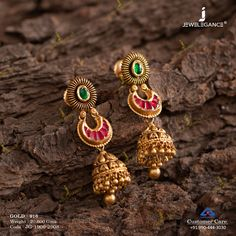 Make your look royal with gold jewelry. Gold Jhumka Earrings, Gold Earrings Designs, Antique Earrings, Gold Designs, Gold Necklace, 1 Gram Gold Jewellery, Gold Jewellery Design, Ruby Bangles, Bangle Bracelets