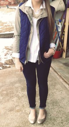 Love this collared shirt with vest combo