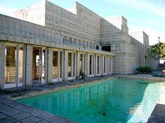 Frank Lloyd Wright's Ennis House in the Los Feliz neighborhood of Los Angeles. It was built in 1924. The design is based on Mayan temples.