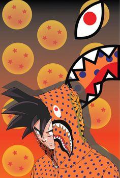close up on clothes in picture as background Cartoon Wallpaper, Bape Shark Wallpaper, Dragon Ball Z, Bape Art, Bape Wallpapers, Black Anime Characters, Cartoon Characters, Trill Art, Supreme Wallpaper