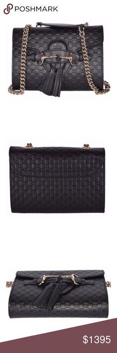 61ae2521a Gucci Emily GG Guccissima Crossbody Shoulder Bag NEW Gucci Black Emily  Small GG Guccissima Leather Chain