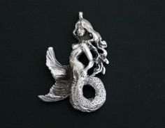 Heavy Solid Sterling silver Nude Mermaid lady woman Pendant fantasy sculpture available at etsy.com thevintedge
