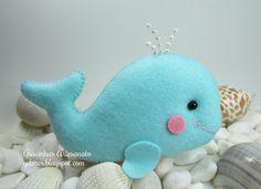 whimsy whale in felt. Felt Crafts, Fabric Crafts, Sewing Crafts, Craft Projects, Sewing Projects, Felt Animal Patterns, Felt Fish, Felt Baby, Felt Christmas Ornaments