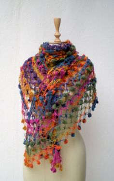Hand-Crocheted Mohair Shawl