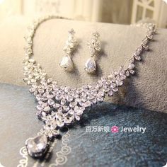 French luxury Starry pear-shaped pendant necklace earrings CZ bridal wedding suit wedding dress accessories