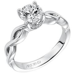 "Artcarved ""Alicia"" High Polish Twist Diamond Engagement Ring in 14kt White Gold"