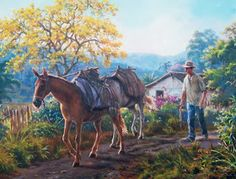 Z Arts, Modern Landscaping, Mexican Art, Latin America, Landscape Paintings, Art Paintings, Beautiful Places, Horses, Fine Art