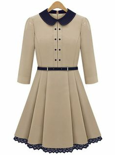 Apricot Long Sleeve Contrast Lapel Pleated Dress pictures
