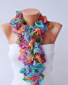 Ruffle scarf lariat crochet Scarves crochet by on Etsy Crochet Ruffle Scarf, Crochet Scarves, Knit Crochet, Pretty Outfits, Cute Outfits, Sashay Yarn, Diy Clothes, Clothes For Women, How To Wear Scarves
