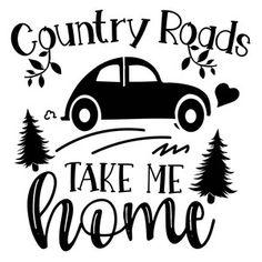Silhouette Design Store: Country Roads Take Me Home Silhouette Cameo Projects, Silhouette Design, Vinyl Crafts, Vinyl Projects, Vintage Clipart, Cricut Explore Air, Cricut Creations, Do It Yourself Home, Cricut Vinyl