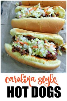 A Carolina tradition! Carolina Style Hot Dogs are covered in a beefy chili, creamy homemade cole slaw, and onions. Ketchup and mustard are optional. Serve these at your next backyard BBQ for a crowd-pleasing win! Hot Dog Coleslaw Recipe, Homemade Coleslaw, Homemade Chili, Slaw Recipes, Beef Recipes, Cooking Recipes, Sandwich Recipes, Easy Recipes, Dinner Recipes