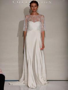 Jenny Yoo Fall 2016 wedding dress with sheer lace coverlet over sweetheart neckline simple sheath dress | https://www.theknot.com/content/jenny-yoo-wedding-dresses-bridal-fashion-week-2016