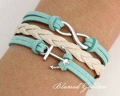 mint green bracelet mint green leather infinity by BlessedGarden