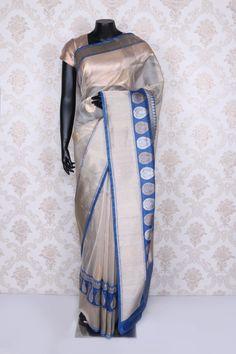 Chic #pearl #white banarasi silk saree with #blue,#silver & #gold border-SR11761